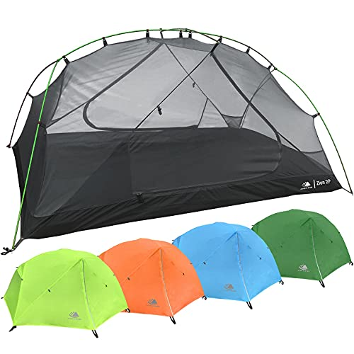 2 Person Backpacking Tent with Footprint - Lightweight Zion Two Man 3 Season, Waterproof, Ultra Compact 2p Freestanding Backpack Tents for Camping and Hiking by Hyke & Byke (Lime Green)