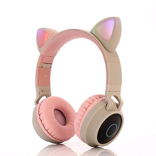 Auriculares inalámbricos para niños, auriculares Bluetooth con orejas de gato para niños, luz LED, auriculares inalámbricos Bluetooth para niños, con micrófono para Kindle/Laptop/PC/TV (gris)