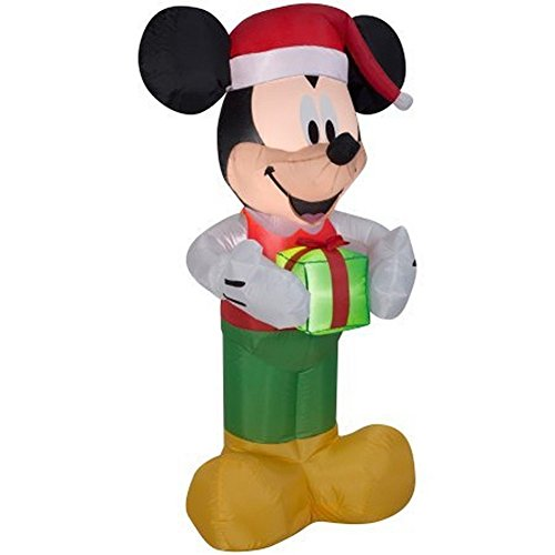 Lighted Santa Inflatable Mickey Mouse Holding a Present