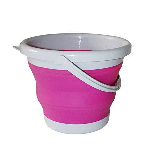 Cubo plegable Cubo de pesca cubo plegable lavado de autos engrosamiento al aire libre suministros de pesca camping baño portátil cocina-Rosa roja 3L