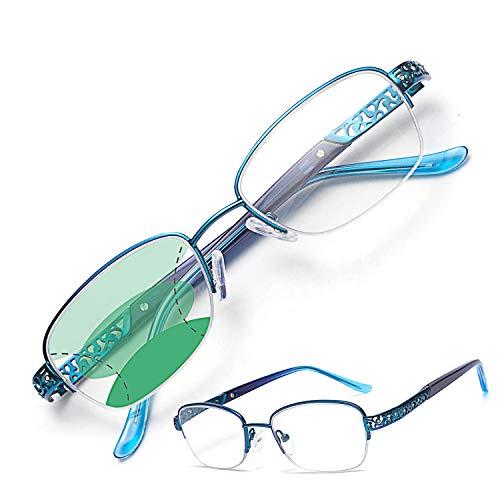 JIMMY ORANGE遠近両用老眼鏡 レディース 累進多焦点レンズ ブルーライトカット おしゃれ パソコン用 PCメガネ 携帯用 透かし彫り 軽量 ケース付き リーディンググラス シニアグラス AM5107(ブルー、+1.0)