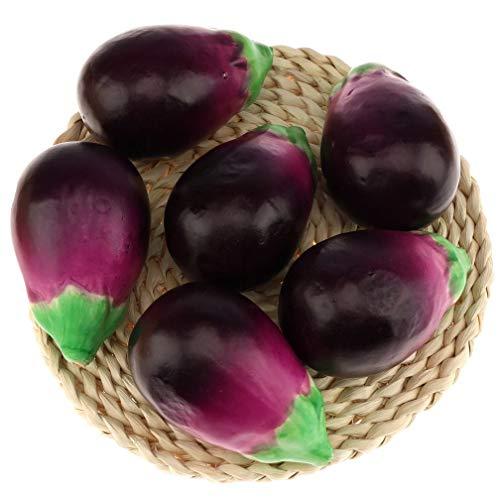 Gresorth 6 Stück Fälschung Aubergine Dekoration Künstlich Gemüse Zuhause Küche abspielen Essen Lebensecht