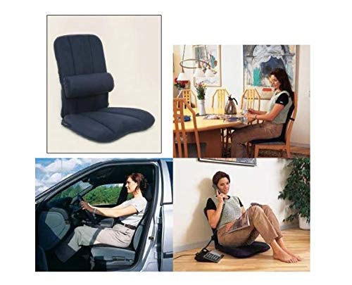 Schienale ergonomico con cuscino lombare–portatile supporto lombare per sedia–adatto per seggiolino auto, per uso domestico e sedie da ufficio per Bad fermatende, unisex, Ergonomic, Black, 53 x 45 x 15 cm