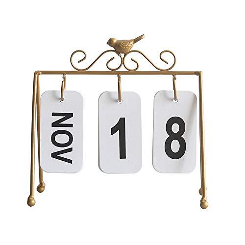 Ruiting Calendario Mesa 2019,Calendario de Sobremesa con Estante de Hierro y Figura de Pájaro Creativa Decoración para Mesa de Hogar (Oro)