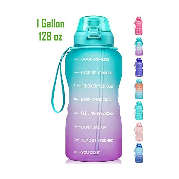 Fidus Large 1 Gallon/128oz Motivational Water Bottle with Time Marker & Straw,Leakproof...