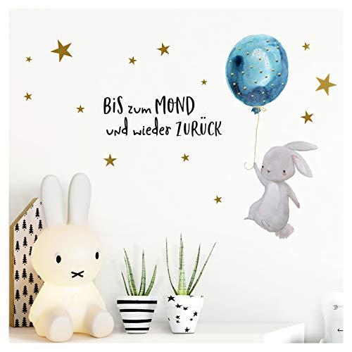 Little Deco Wandtattoo Kinderzimmer Junge Spruch Bis zum Mond Hase mit Luftballon Kinderbilder Deko Babyzimmer Blau Wandaufkleber Wandsticker Aufkleber Baby DL213-04