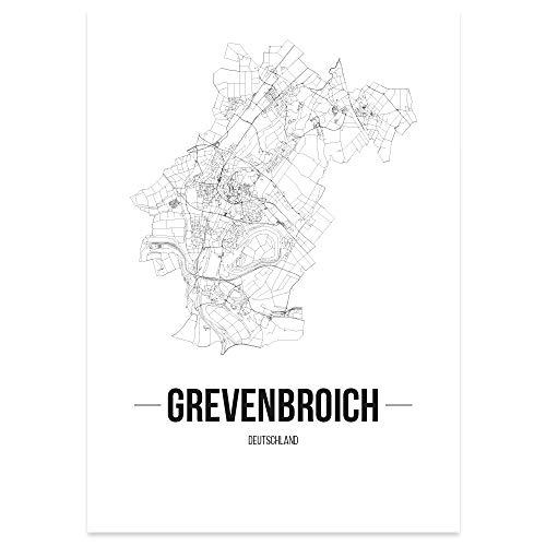 JUNIWORDS Stadtposter - Wähle Deine Stadt - Grevenbroich - 21 x 30 cm Poster - Schrift B - Weiß
