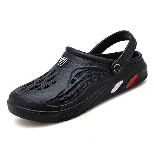Zuecos de jardín para mujer para hombre, zapatillas de playa, transpirables, para ducha, zapatos de agua, color Negro, talla 42 EU