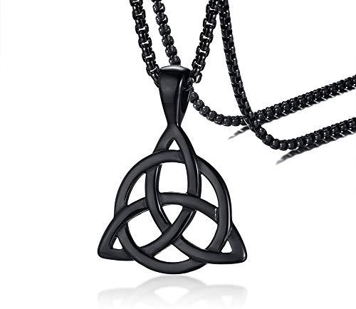 PJ JEWELLERY Irische keltische Triquetra Dreieck-Dreieck-Knoten-Halsketten für Männer, 24