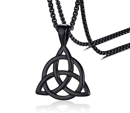 PJ Jewelry Mens Stainless Steel Irish Celtic Knot Triquetra Trinity Triangle Pendant Necklaces with 24' Box Chain