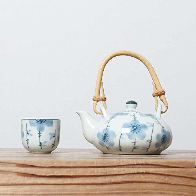 ALILEO 5PC de Jeux créatifs de Style Japonais Thé Kung Fu Peint à la Main en céramique Bleu et Blanc Pcourire Théière Tasse Décoration d'OrneHommests Nouveaux