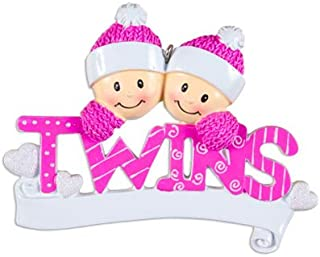 Personalized Twins Christmas Tree Ornament 2019 - Same Born Babies Pink Hat Word Glitter Hearts Toddlers Children Girl's 1st Miracle New Mom Grand-Kid Baby's Gift Year - Free Customization (Pink)