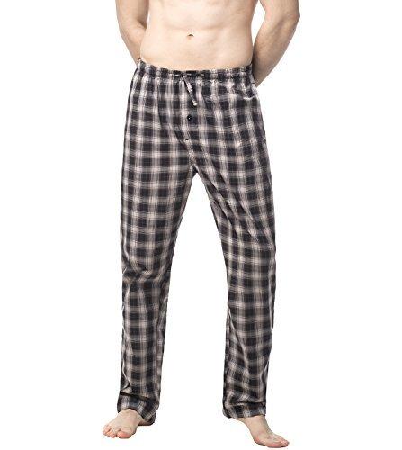 LAPASA Uomo Pantaloni da Pigiama in 100% Cotone Leggero a Quadri Abbigliamento da Notte Stampa a Quadretti M38