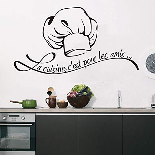 Dwzfme Adhesivos Pared Vinilo extraíble francés Cocina y baño azulejo Mural Tallado calcomanía Artista Pintura Decorativa para el hogar 54x106cm