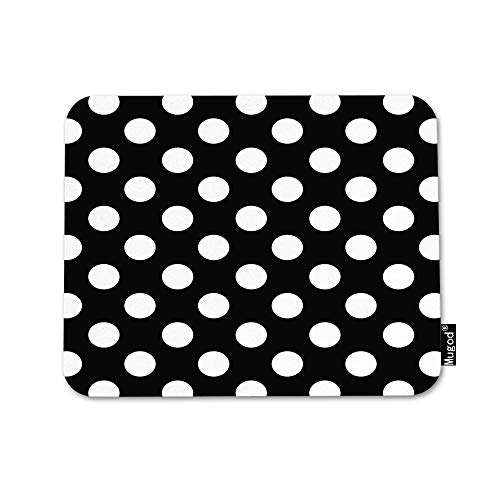 Mugod Polka Dot Mouse Pad Abstract Circle Geometric Pattern Retro Black and White Mouse Mat Non-Slip Rubber Base Mousepad for Computer Laptop PC Gaming Working Office & Home 9.5x7.9 Inch