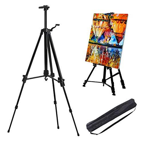 Soporte de caballete, ajustable de 52 a 162 cm, con bolsa de transporte, caballetes pequeños portátiles de aluminio para pintura/póster/boda, para artistas,niños,adultos, bosquejos,pintura,negro