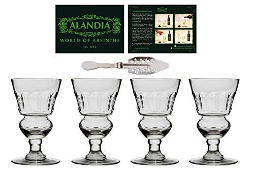 ALANDIA 4X Copas/Vasos Absenta   Auténtica reproducción del Original   Hecho a Mano   Una Cuchara de Absenta incluida