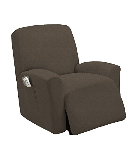Golden Linens One Piece Stretch Recliner Chair Furniture Slipcovers with Remote Pocket Fit Most Recliner Chairs (Taupe)