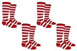 Everything Legwear Rugby Socks (Youth) - Striped Knee High Sport Novelty Socks - Fits Shoe Size: 9-3 (Kids) (Red)
