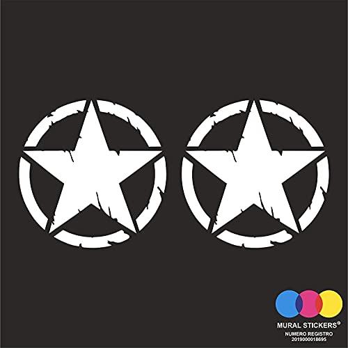 mural stickers Pegatinas 4x4 Off Road Estrella Militar Destrudo US Army – Aplicable en el capó o puerta de tu coche – Paquete de dos unidades – Bonitas – (blanco, 10 x 10)