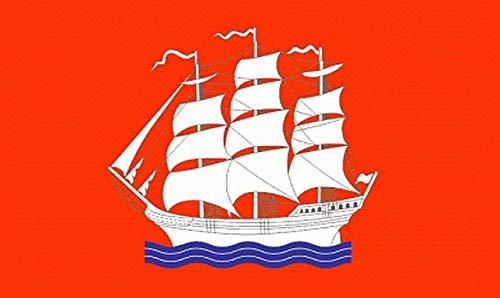 Fanshop Lünen Fahne Flagge Elmshorn Stadt Flaggen Hissfahne mit Ösen 90x150 cm Segelschiff