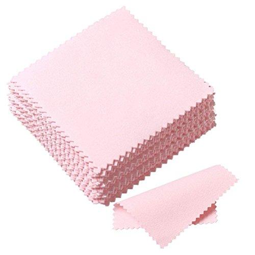 Schmuckreinigungstücher / Poliertücher - Ultra weich, für Schmuck - Poliertuch für Silber, Gold, Messing - zur Reinigung von Uhren und Kameras, 50 Stück, pinkfarben
