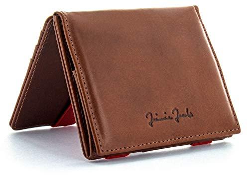 JAIMIE JACOBS Portafoglio Magico con scompartimento per monete Flap Boy - l'originale - Magic Wallet Protezione RFID Pelle da Uomo (Marrone Scuro e Rosso)