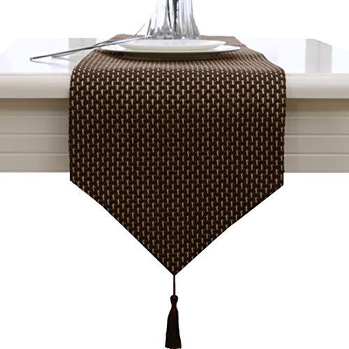 Camino de mesa decorativo con borlas, hecho a mano, color beige y café, tela, café, 33 * 180cm