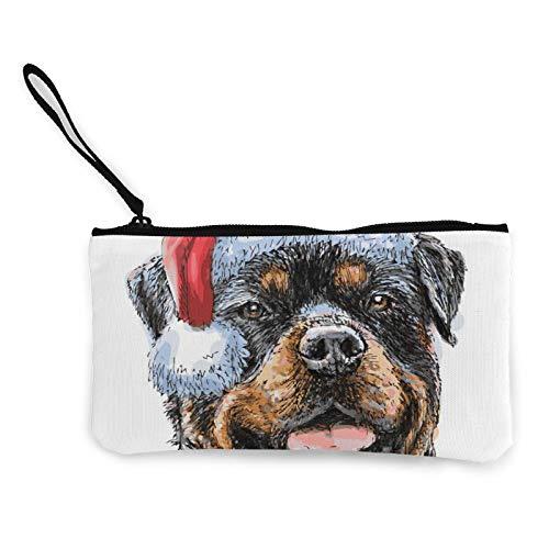 Rottweiler 03 - Bolso de lona, bolsa de cosméticos con cremallera, bolso pequeño para teléfono móvil con asa
