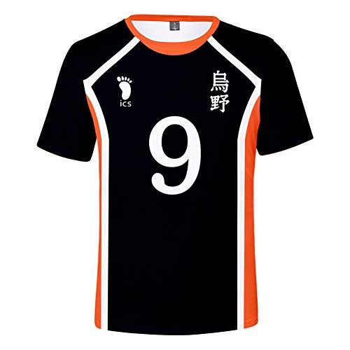 Haikyuu !! Camiseta Cosplay Niñas Niños Streetwear Casual tee Top para Mujeres y Hombres (Negro-9, S)