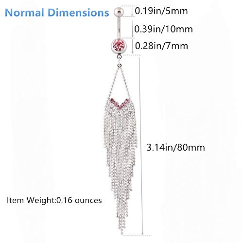 Belly Button Rings Surgical Steel - IrbingNii Pink 15-Tassels Chain Long Belly Rings Dangle 14G Photo #6