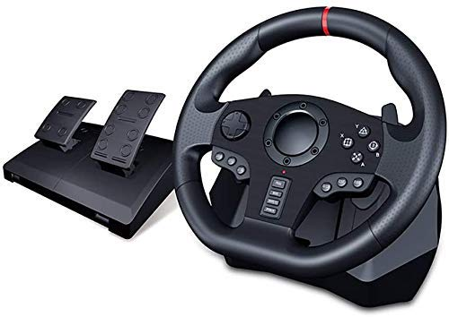 M I A Rueda de carreras de juego, volante de fuerza de conducción con pedales de piso, retroalimentación real, cable USB controlador de volante para conmutador PC /PS4 para X-One