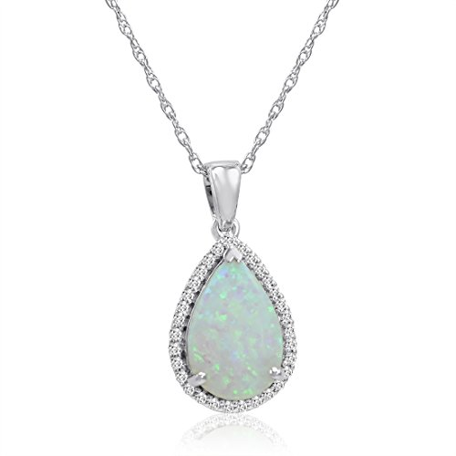 Amanda Rose Collection Pear Shape Lab Created Opal and White Sapphire Pendant-Necklace in Sterling Silver