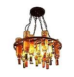 ZAKRLYB Antiguo Rust Colgando botella de vino colgante cuadrado Isla de la lámpara de luz Bar Restaurante Vino Industrial accesorios vintage de la lámpara de la botella, titular de la botella de vino
