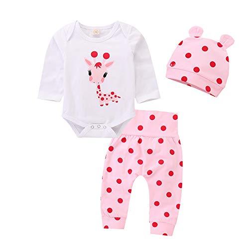 Kfnire - Conjunto de bebé compuesto de pantalones y sudadera con capucha, diseño de leopardo Giraffa Rosa 0-3 Meses