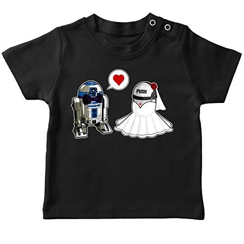 T-Shirt bébé Noir Star Wars parodique R2-D2 : Just Married. : (Parodie Star Wars)