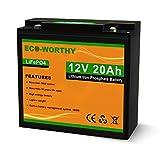 ECO-WORTHY 12V 20Ah Batería recargable de fosfato de litio y hierro LiFePO4 con más de 3000 veces de ciclo profundo y protección BMS para kit de panel solar, scooter, RV, marino, hogar, scooter