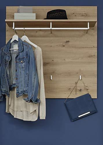 trendteam smart living Garderobe Gardrobenpaneel Amanda, 91 x 96 x 27 cm Asteiche mit Ablagefläche, Kleiderstange und Garderobenknöpfen