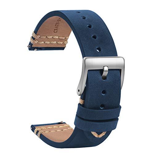 TStrap Orologi Cinturini Pelle 20mm - Sostituzione Cinturino Morbido Blu a Sgancio Rapido - Cinturino Sportivo per Uomo Donna - Cinturino Orologi Intelligenti Fibbia Argento - 18mm 19mm 21mm 22mm