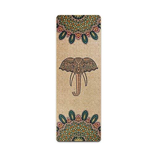 RZH Öko-Bio-Yogamatte, Yoga-matten Aus Naturjute-bedrucktem Gummi, Reversibles Jute-TPE-rutschfestes, Geschmackloses Trainingspad Gewichtsverlustmatten,E,1830 * 610 * 5