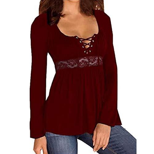 Bluse Damen T-Shirt Damen Sexy Elegant Niedriger Kragen Mode Casual Lose Langarm...