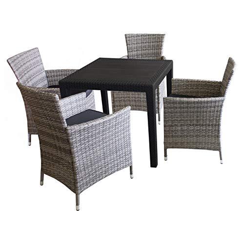 5tlg. Sitzgarnitur Balkonmöbel Bistro Set Gartenmöbel - Tisch Kunststoff Rattan-Look 79x79cm + 4 Polyrattan-Sessel Grau inkl. Sitzkissen