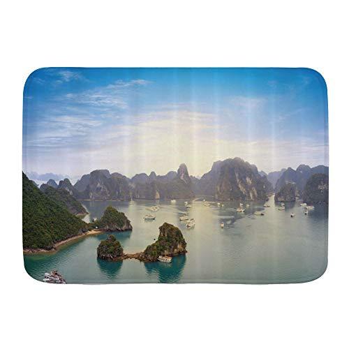 Yhouqukhdeueh Badematte Bad Teppiche, Vietnam Landschaft Malerische Halong Bucht Panoramablick Geografische Landschaft,mit Rutschfester Rückseite, 29,5