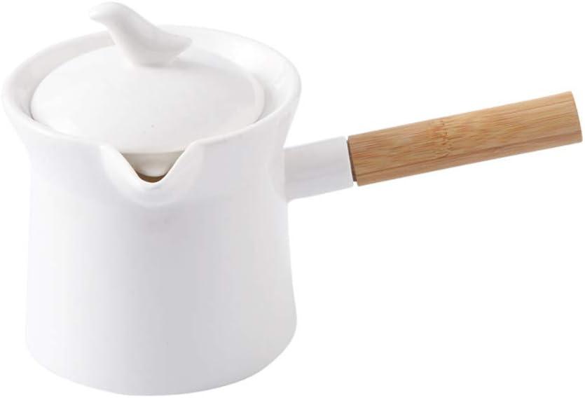 SLHEQING Mini cazo para leche antiadherente de cerámica con mango de madera, cazo con pico vertedor