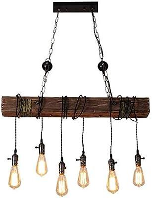 Lámpara de araña vintage Lámpara colgante retro Altura de madera ...