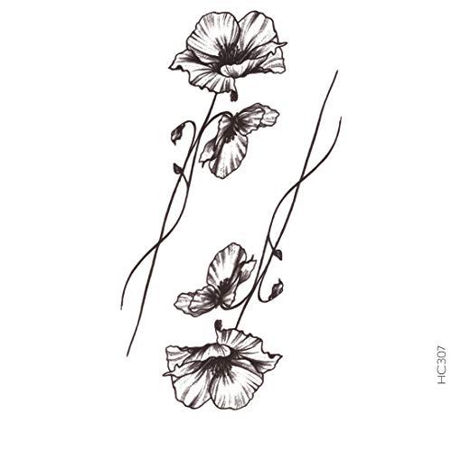 AVASTORE Temporäre Tattoo, Blume, Mohnblume