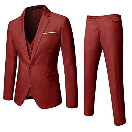 MAGE MALE Mens Solid 3-Piece Suit Slim Fit Notch Lapel One Button Tuxedo Blazer Jacket Pants Vest Set Red