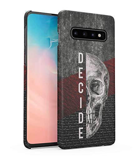 Hülle Hardcase Kompatibel mit Samsung Galaxy S10 Decide Schädel Skelett Gotisch Gau Marmor Marble Realistic Human Skull Grunge Skeleton Gothic Quote Depression eng Anliegendes Dünnes Handyhülle