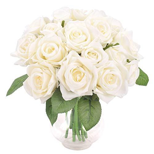 Famibay Rose Gefälschte Blumen for Hochzeit 2 Pcs Kunstblume Blumenstrauß Unechte Blumen 18 Köpfe Braut Hochzeitsblumenstrauß für Haus Garten(Weiß,Keine Vase)