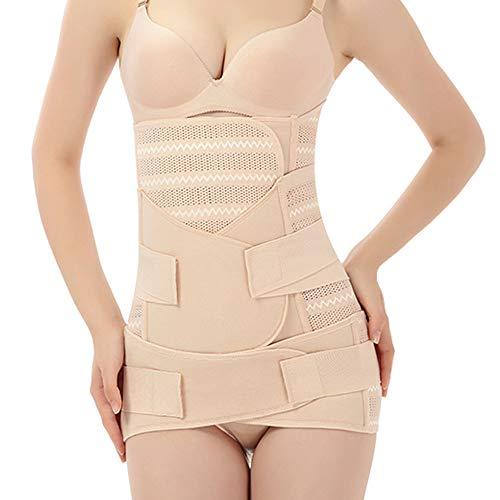 WANYIG Faja Postparto Reductora Mujer 3 en 1 Transpirable Elástico Recuperación Post-Parto Vientre/Cintura/Soporte Pélvico Cinturón Transpirable Elástico (Beige, XL)